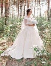 Simpe Ivory A Line Wedding Dresses Elegant Off The Shoulder V-Neck Boho robe de mariee Satin Bridal Gowns vestidos de noiva 2019