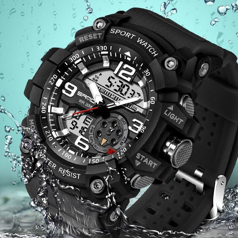 SANDA Mode hommes montres de sport Électronique double affichage analogique numérique LED Quartz Montre-Bracelet 50 M étanche de bain Numérique-montre