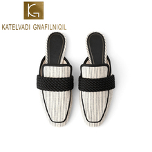 KATELVADI 2019 Women Brand Slippers low heel Casual Slipper Slip On Mules Slides Cotton Strip Fabric single Shoes K-385
