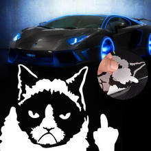 2016 New Funny Car Sticker Grumpy Cat Middle Finger Stick Up DIY Decor White