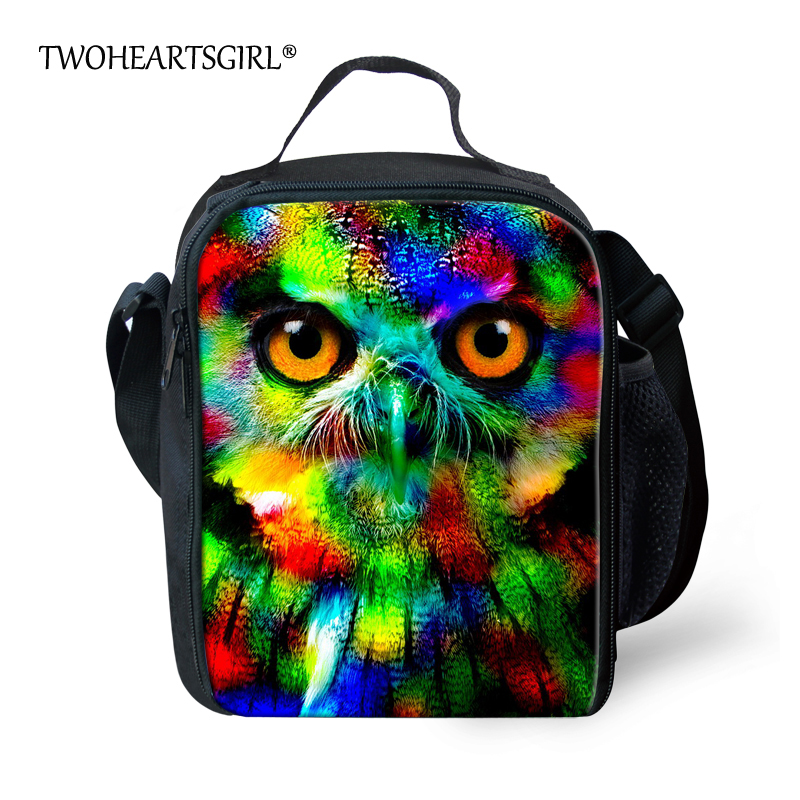 TWOHEARTSGIRL Insulated Shoulder Lunch Bag for Women Cool Neon Animal Owl Lunch Box Personalized Adult Kids Dinner Lunch Bag