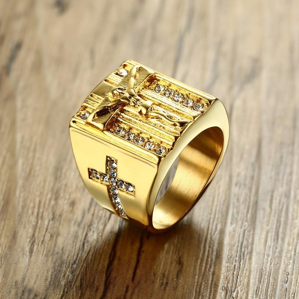 Jesús Cruz Blanco cúbico zirconia anillo para hombres tono de oro Acero inoxidable crucifijo CZ Band joyería masculina Anel aneis