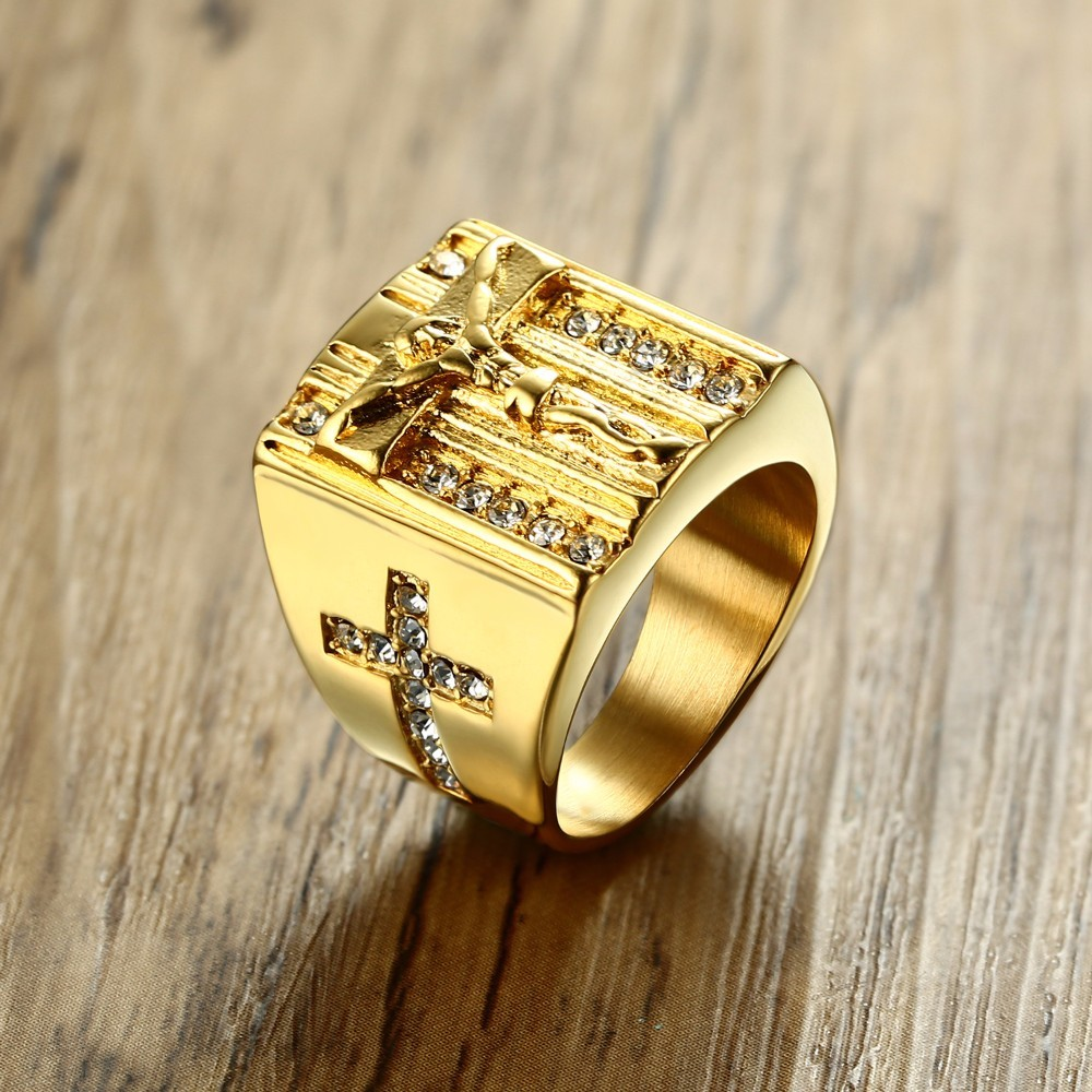 Jesus Cross White Cubic Zirconia Ring for Men Gold Tone Stainless Steel Crucifix CZ Band Male Jewelry Anel Aneis Masculinos
