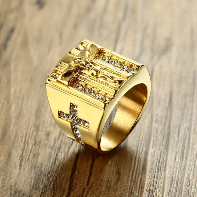Jesus Cross White Cubic Zirconia Ring for Men Gold Tone Stainless Steel Crucifix