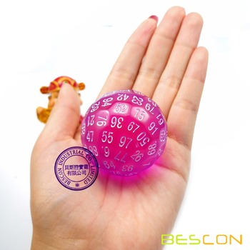 Bescon Translucent zestaw kości wielościennych 100 stron kości przezroczysta kostka D100 kostka 100 jednostronna gra w kości D100 kostka 100-Sided Purple tanie i dobre opinie BCD24107
