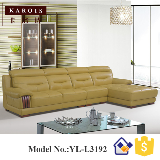 100% leather living room furniture corner leather sofa,pouf moderne ...