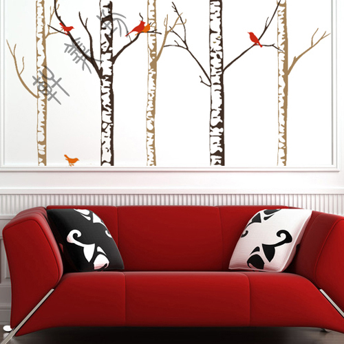 Freies Verschiffen DIY Kunst Birke Wohnzimmer TV Sofa Hintergrund Dekoration Hohe Qualitt Wandaufkleber TapeteChina