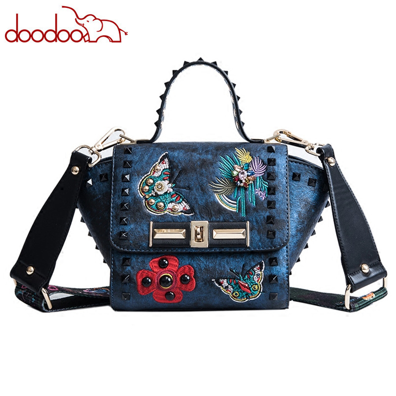 2018 New Vintage Rivet Shoulder Messenger Bags Butterfly Flowers Embroidery Designer Famous Brand Women Trapeze Crossbody Bags vintage rivet hollowed butterfly ring for women page 7