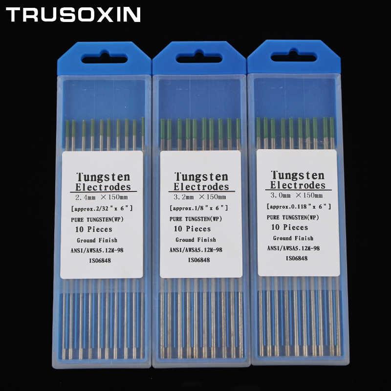 10pcs สีเขียวรหัส 1.0/1.6/2.0/2.4/3.0/3.2/4.0 150MM WP ทังสเตนทังสเตนเข็ม/rod สำหรับเครื่องเชื่อม TIG เครื่องเชื่อม