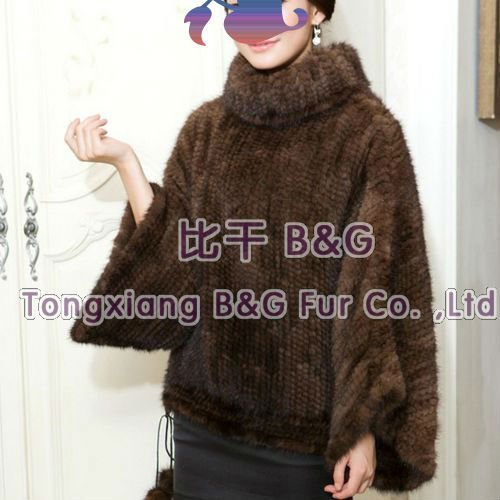 DISCOUNT BG11640 Women Fashion100% Real Knit Mink Fur Shawl Poncho Wholesale Factory Outlets mink coat Free shipping 2 Colors