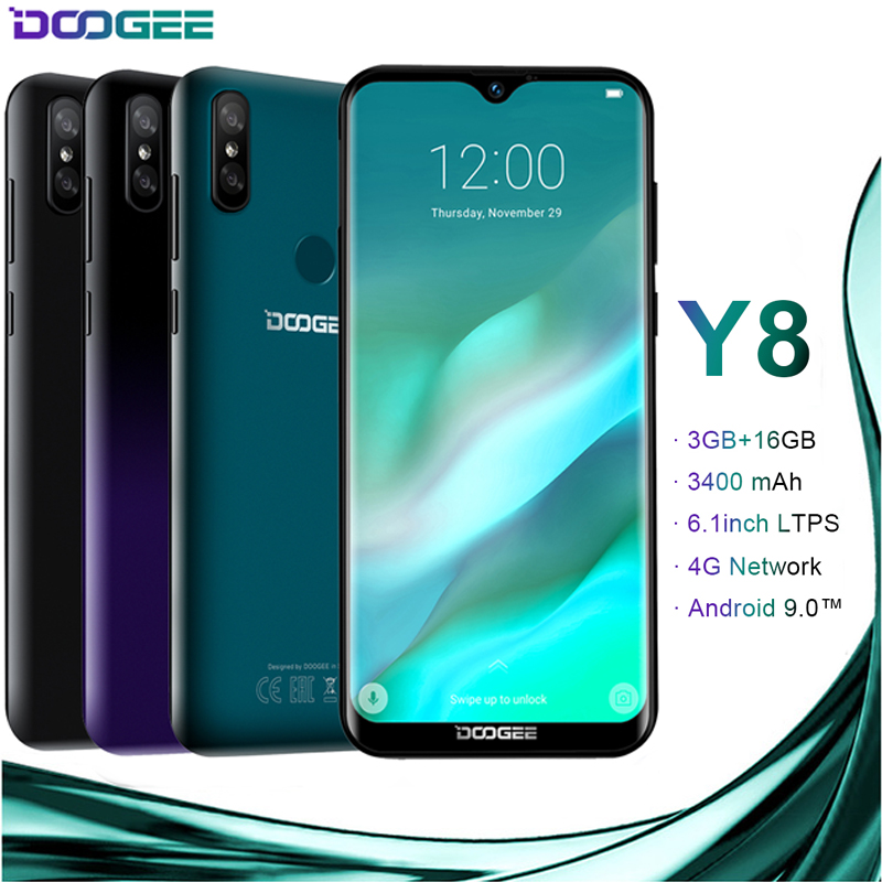 DOOGEE Y8 Android 9.0 4G LTE 6.1 pouces 19:9 Waterdrop LTPS écran Smartphone MTK6739 3 GB RAM 16 GB ROM 3400 mAh double SIM 8.0MP