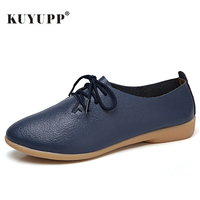 Genuine Leather Women Flat Fashion Causal Loafer Pointed Toe Women Shoes Big Size 35 44 Lace