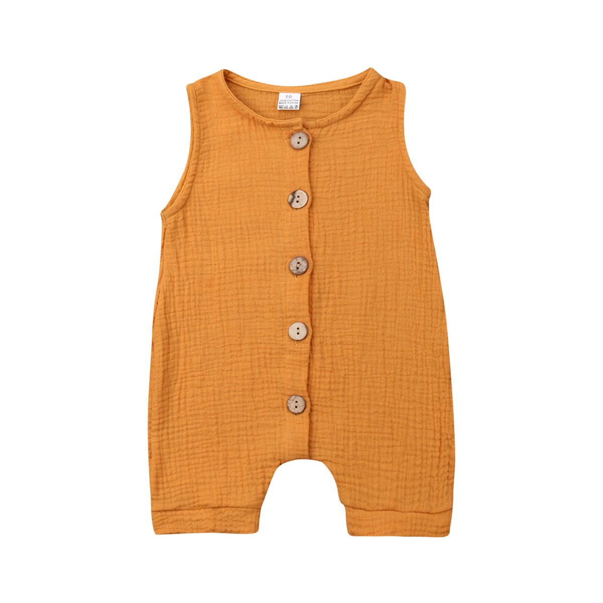 0 3 Months Infant Baby Boy Girl Romper Sleeveless Button Solid Color Linen Jumpsuit Unisex Baby Playsuit Casual Summer Clothes in Rompers from Mother Kids