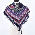 Woman Soft Geometric Tassels Square Scarf Winter Cotton Dots Chevron Scarves Girl Warm National Style Stripes Flowers Shawl Wrap