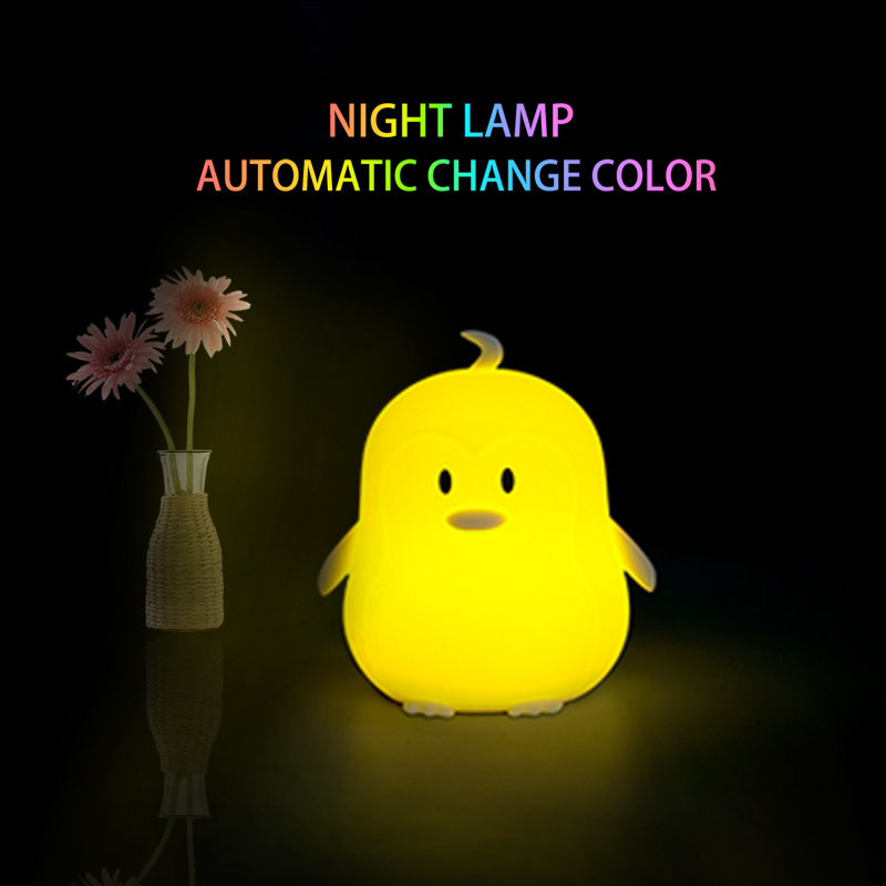 Lovely penguin cartoon silicone baby LED night light children's night lamp battery luminaire gifts for kids lovely stitch night light cartoon