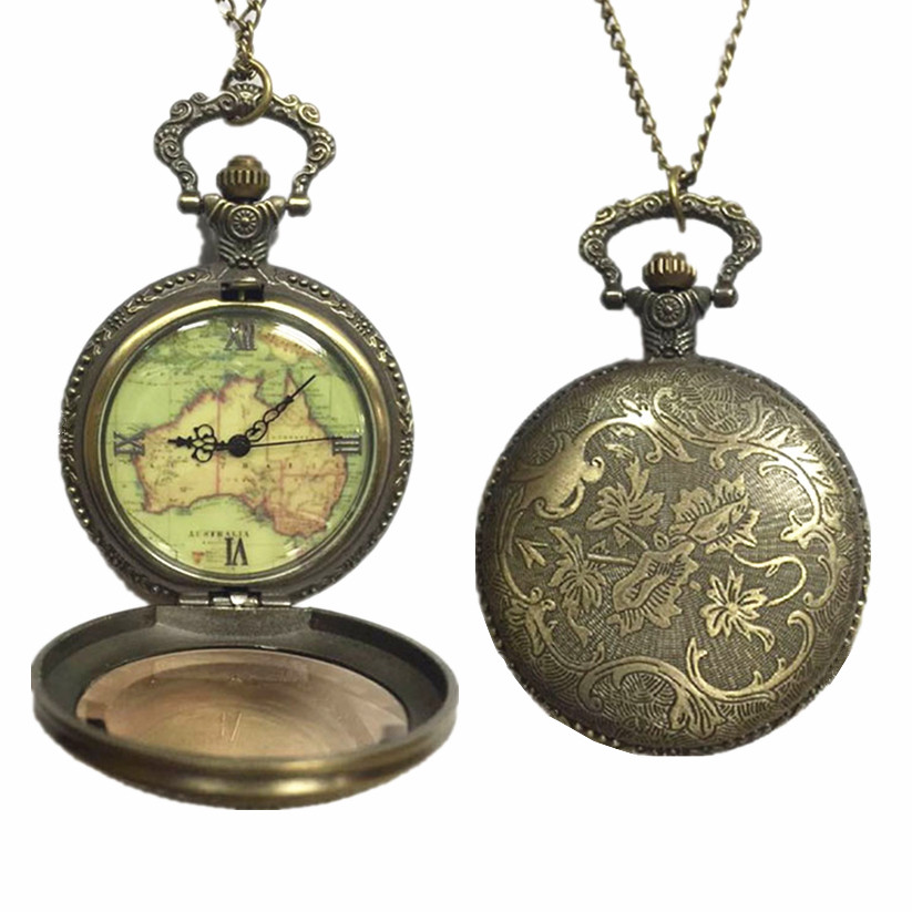 Womens Mens Quartz Pocket Watch 1 PC Vintage Watch Necklace Gift Retro Australia Map Watch Pendant On Chain Wholesale 30M12 beibehang papel de parede 3d wallpaper vertical stripes modern minimalist bedroom living room sofa tv background 3d wall paper