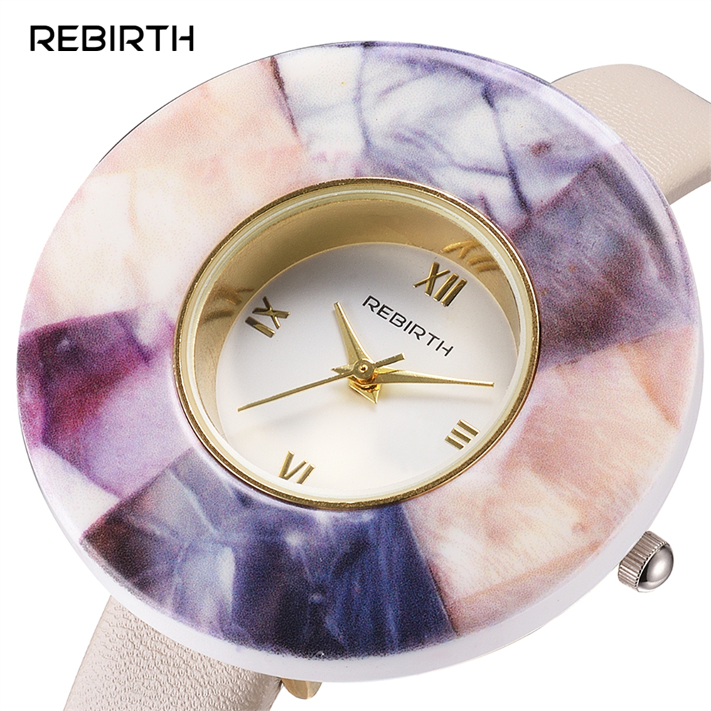 Ceramics Case Women Quartz Watch REBIRTH Top Brand Watches Leather Band Luxury Casual Lady Wristwatch Fashion Female Clock Gift top brand rebirth women quartz watch lady luxury fashion dress clock classic female wristwatch women gift relogio feminino