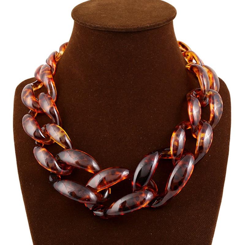 რთველი ქალთა ლეოპარდის კანის გრძელი ჯაჭვის საყელო ყელსაბამი Chunky Chain ყელსაბამები და გულსაკიდი Bijoux 2016 ქალის სამკაულები