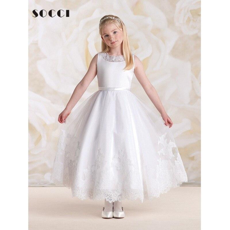 SOCCI Lace Vintage Little Girl Bride Wedding Dress Elaborate O Neck ...