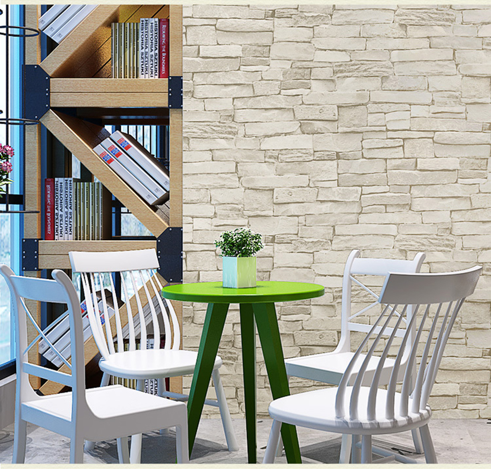 купить HaokHome 3d Vintage Faux Brick Vinyl Wallpaper Rolls Grey Stone Stacked Photo Paper Murals Home Kitchen Bathroom Wallpaper Decor по цене 2713.1 рублей