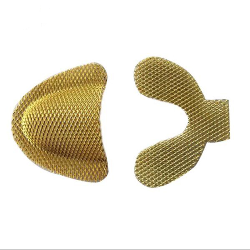 6 Pairs Upper Lower Dental Lab Yellow Denture Materials Golden Metal Palatal Reinforcement Mesh For Acrylic Partial Denture