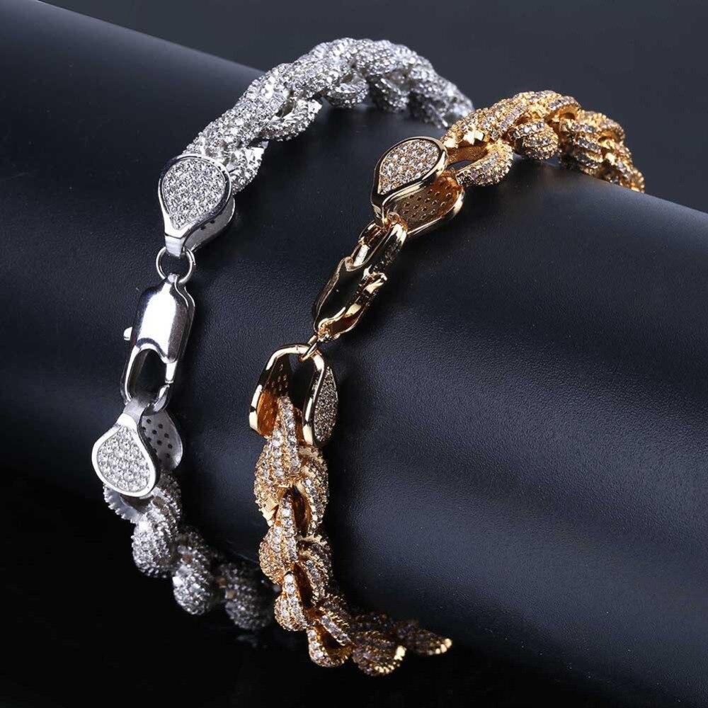 2019 bijoux de luxe Punk Hip Hop or argent cubique Zircon glacé lien cubain Bracciali Donna charmes Bracelet de Tennis pour hommes