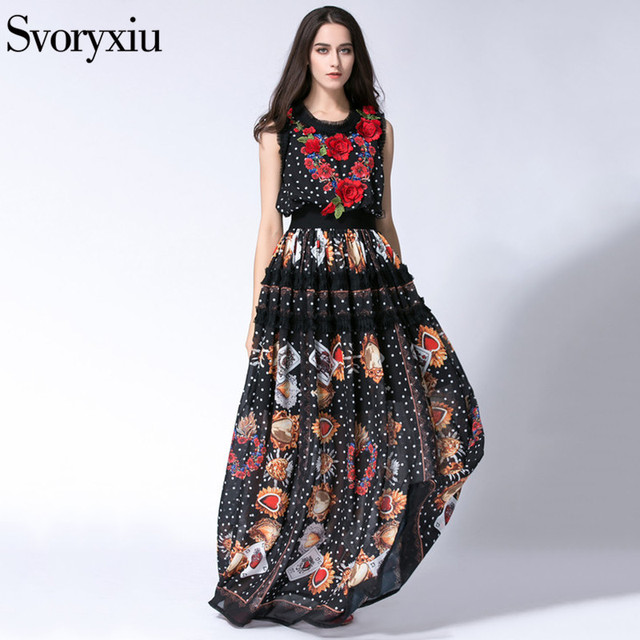09b65cddee6e4 US $55.24 15% OFF|SVORYXIU Runway Designer Summer BOHO Long Dress Women  High Quality Sleeveless Bloom Embroidery Floor Length Dress-in Dresses from  ...