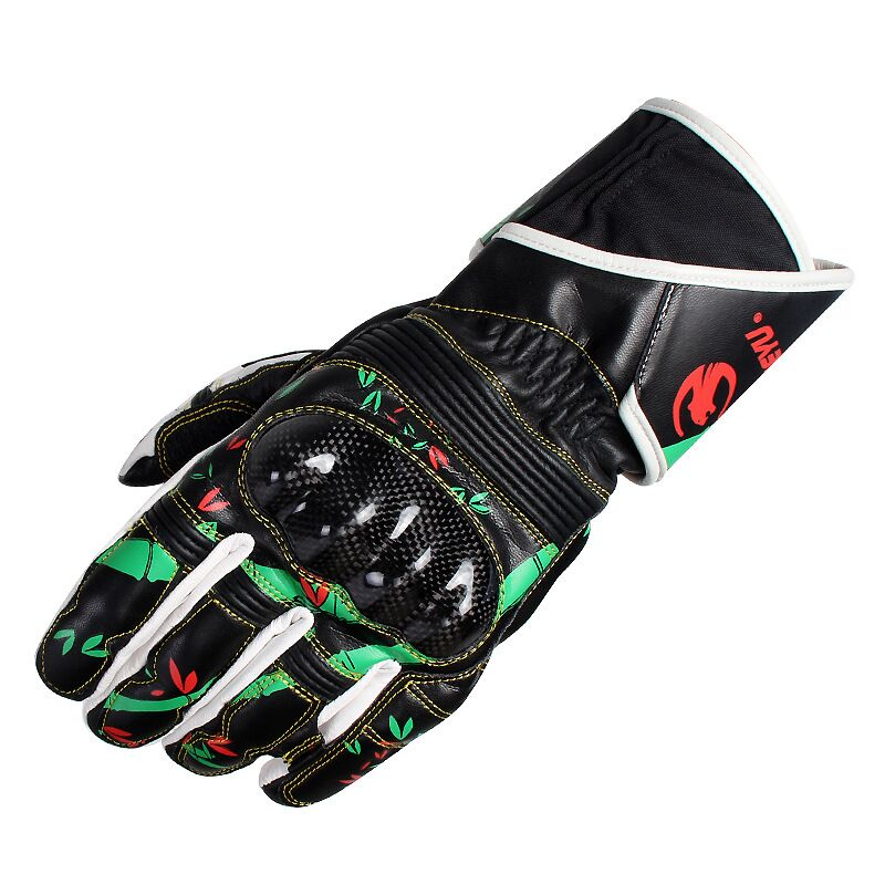 2016 Brand Print Genuine Leather Carbon Fiber Motorcycle Gloves Outdoor Racing Gloves motocross off road Protective
