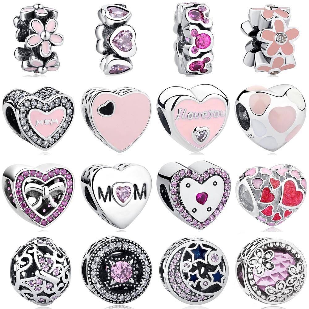 BELAWANG 100% Plata de Ley 925 Rosa dijes con cuentas de cristal pulsera de Pandora colgante para las mujeres Original accesorios de la joyería