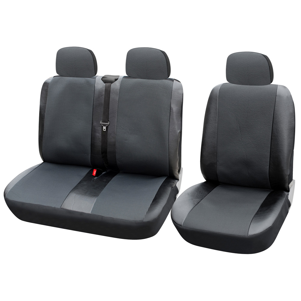 Siège auto 1 + 2 housses de siège housse de siège de voiture pour Transporter/Van, ajustement universel avec cuir artificiel, accessoires intérieurs de camion