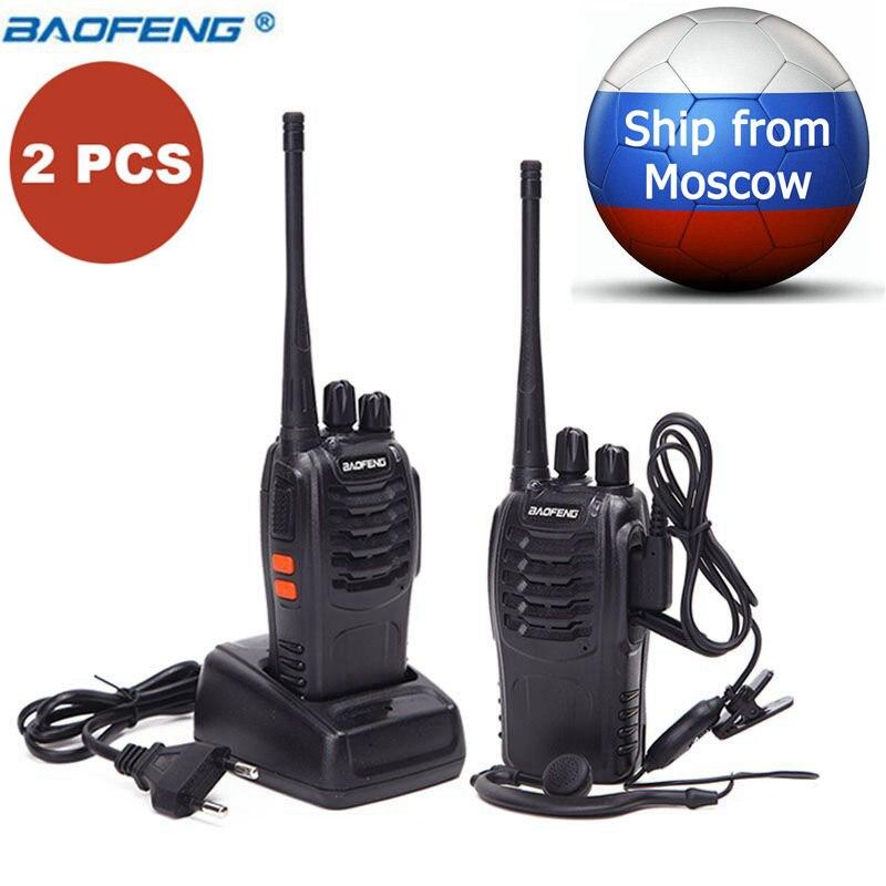 2 pcs Baofeng BF-888S Mini Talkie Walkie Portable Radio CB Radio Ensemble BF888S UHF 888 s Comunicador Émetteur Émetteur-Récepteur + 2 casque