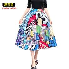 CR النساء الأزهار مرونة عالية الكرتون الطباعة ميدي مطوي تنورة Jupe فام الربيع الخريف قيعان الملابس