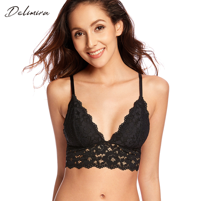 b3f81f071f7 Women s Removable Pads Wire Free Longline Cute Bra Lace Bralette-in ...