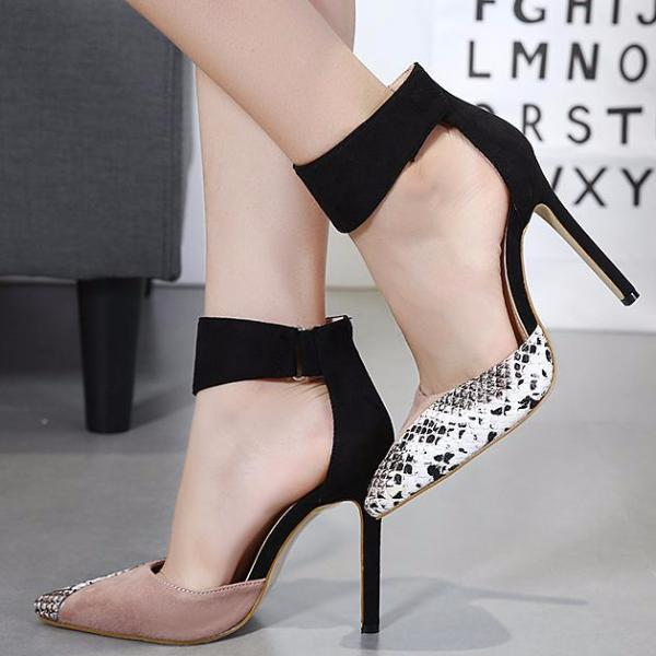 High Heels Ankle Hook-Loop Pointed Toe Stiletto Pumps Ladies Banquet Party Shoes 3