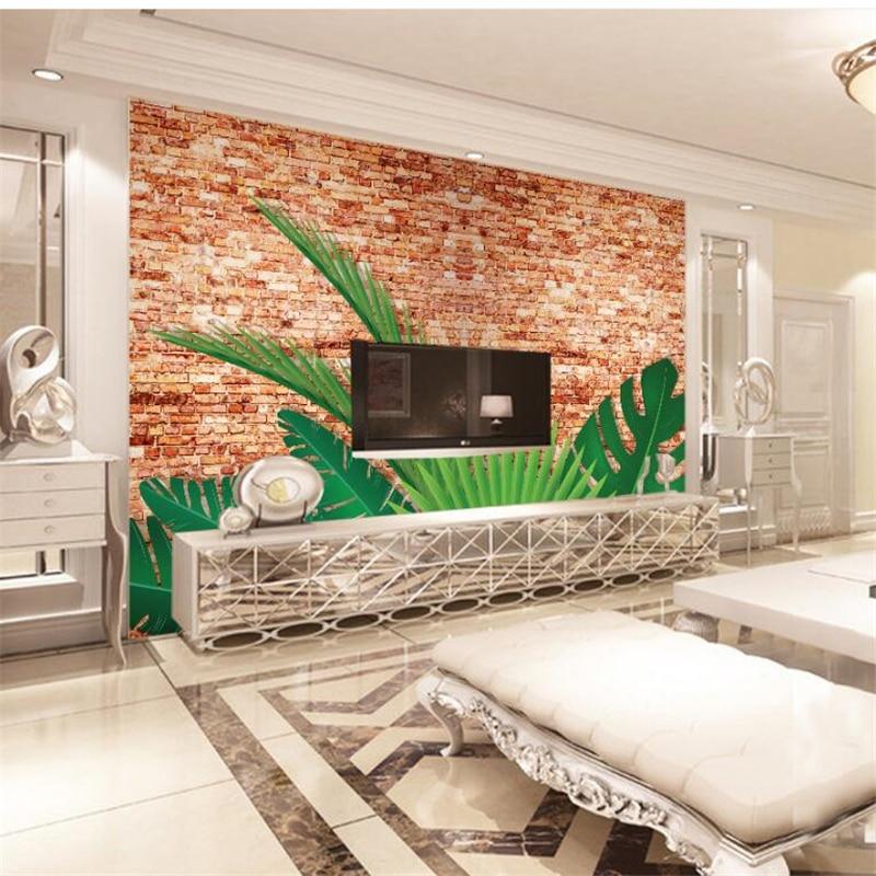 Beibehang custom photo wallpapers 3d red brick wall green Red brick wallpaper living room