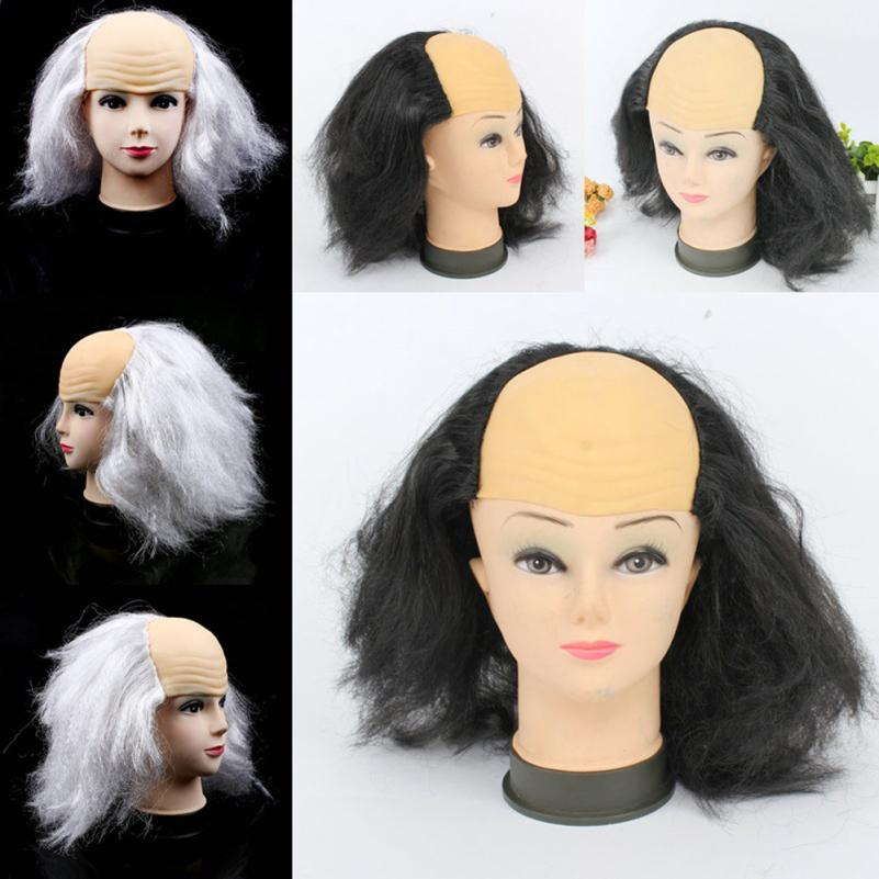 FGHGF Funny Bald Wig Masquerade Show Cosplay Old Man White Black Bald Wig  April Fool s Day Halloween Theme Party Props Supplies cebf4d1442
