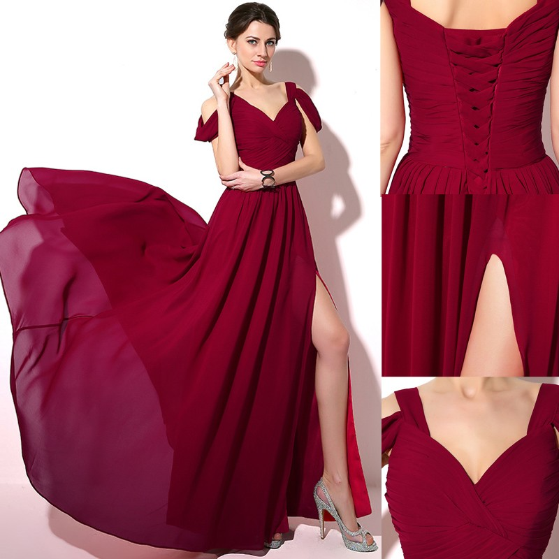 Elegant Off Shoulder Chiffon Bridesmaid Dress 2