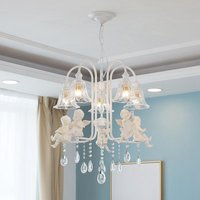 European Modern Crystal Dining Room Sculpture Chandelier Lamp White Resin Angel Baby Living Room Glass Shade Hanging Lamps