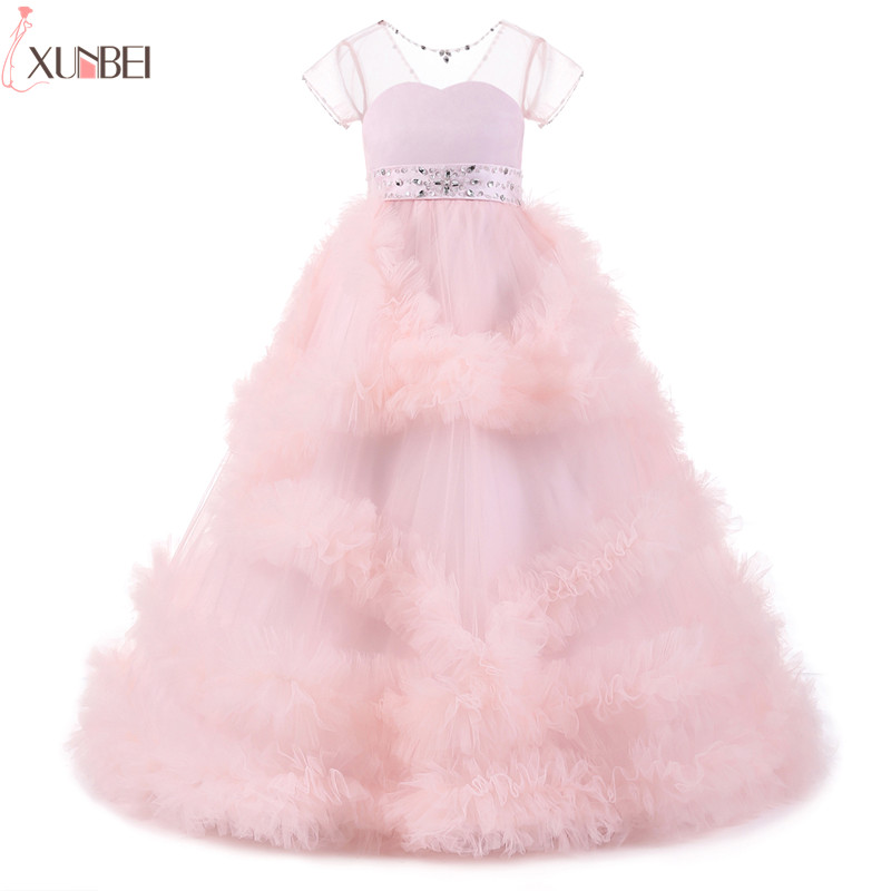 2018 Real Photo Ruffles   Flower     Girl     Dresses   for Wedding Beaded Belt with Bow Frocks Evening Gowns First Communion Prom   Dresses