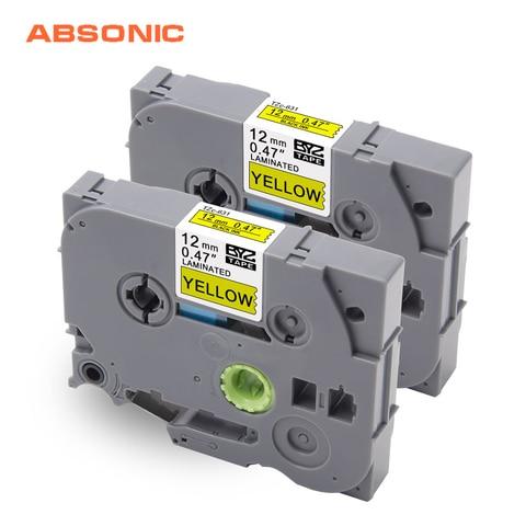 absonic 2 pcs 12mm preto no amarelo fitas cassete tz631 tze 631 tz 631 tze631