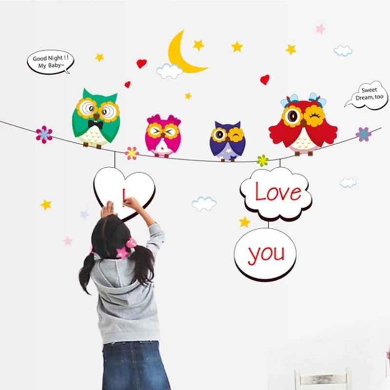 Školky Děti Samolepky na zeď Sovy Kutilství pro domácnost Dekorace tapety do ložnice Vyměnitelné vinylové samolepky