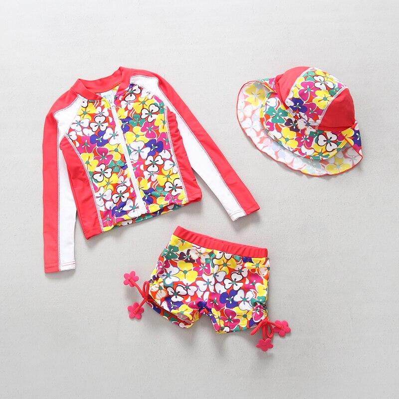 9184f3d778c0 UPF50 + niñas traje de baño niños dos piezas Rash Guards Set flor estampado  manga larga ...