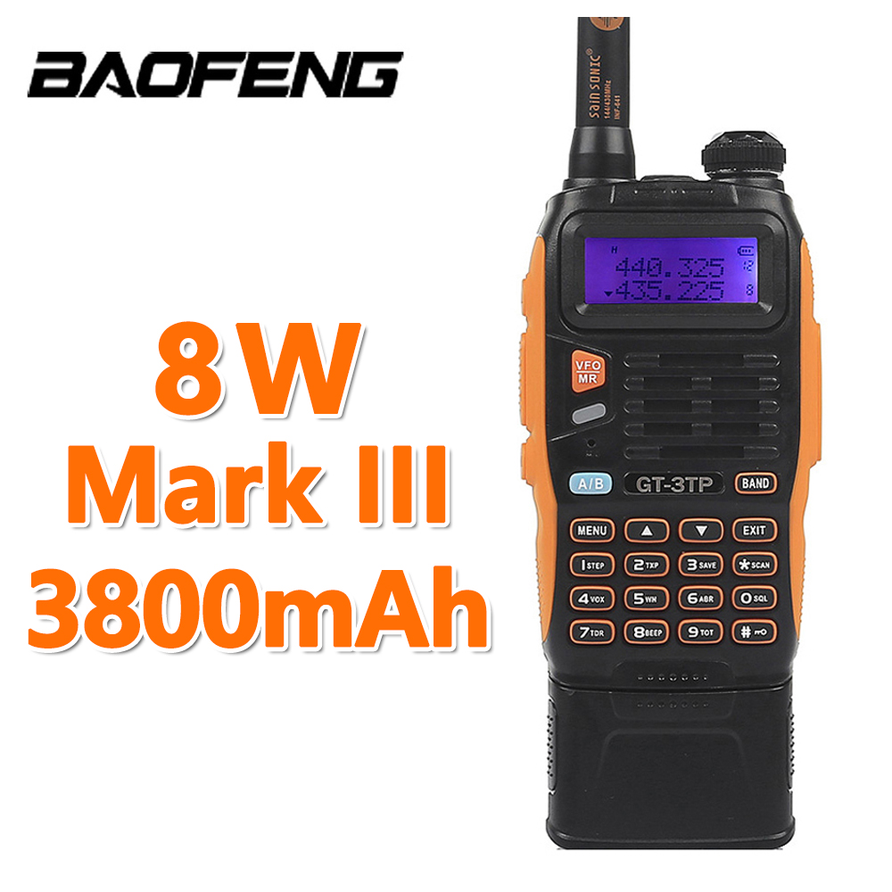 3800mAh 배터리 Baofeng GT-3TP MarkIII 8W 듀얼 밴드 VHF UHF 햄 양방향 라디오 워키 토키 트랜시버