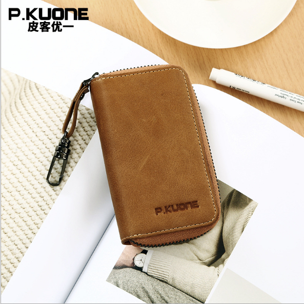 P.KUONE Best Selling Genuine Leather Key Wallet Car Holder Housekeeper Real Leather Organizer Key Case Purse For Business Men
