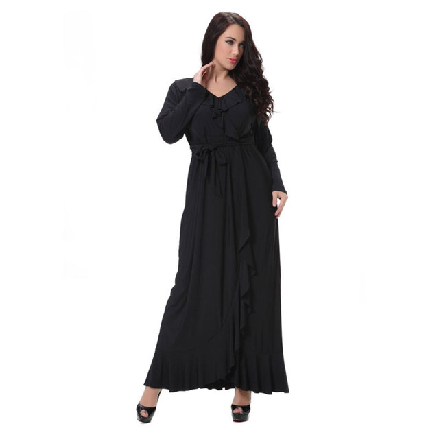 48e73db53b7 Clobee XL 8XL Large Plus Size Women s Maxi Long V Neck Black Dress Big Size  Summer Women Maxi Long Sleeve Ruffles Dresses robe-in Dresses from Women s  ...