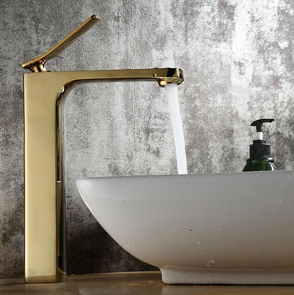 Golden basin faucet hot and cold water mixer taps bathroom single handle basin faucets bathroom accessories