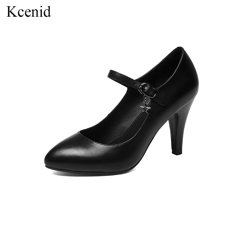 Kcenid 2018 Fashion pointed toe genuine leather women pumps buckle strap high heels Mary Janes comfortable OL ladies shoes black large size 42 rhinestone shoes women low heel pumps pointed toe genuine leather shoes women high heels mary janes ladies shoes