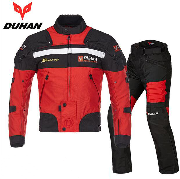 c48ce145524 US $129.0 14% OFF|DUHAN Motorcycle riding suits motorbike racing jacket  pants Men keep warm Moto cycling sets D 020 and DK 02 FREE SHIPPING -in ...