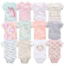 6pcs New Born Baby Short Sleeved Girls Boys Summer Cartoon Printed Bag Fart Rompers Infant Cotton Body Suit