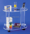 acrylic handmade rolling table cart ,Lucite hand trolleys on wheels,plexiglass telephone tables